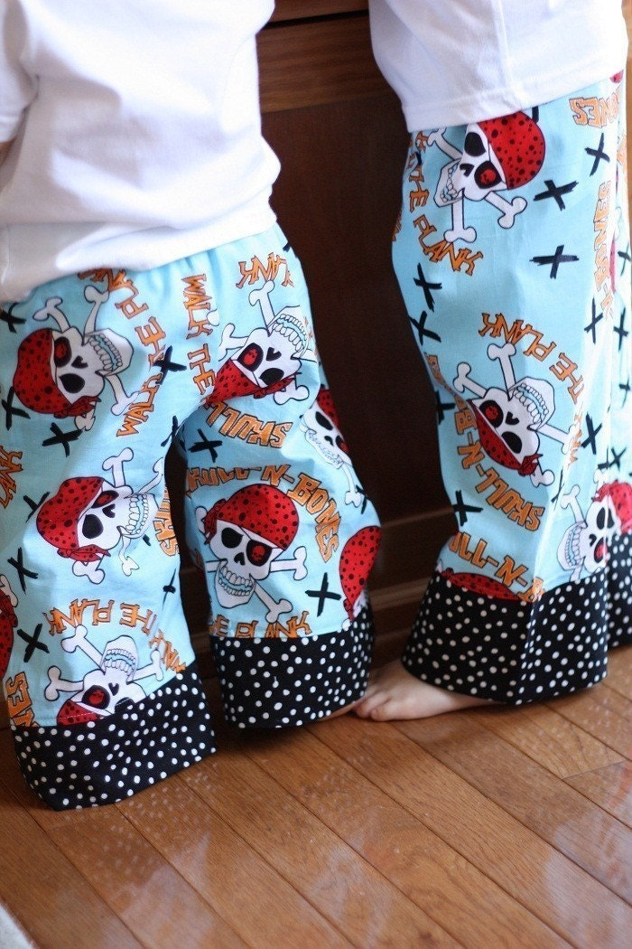 PIRATES Extra Comfy Wide Leg Lounge Pants for Babies and Toddlers Boys or Girls by babe-a-gogo