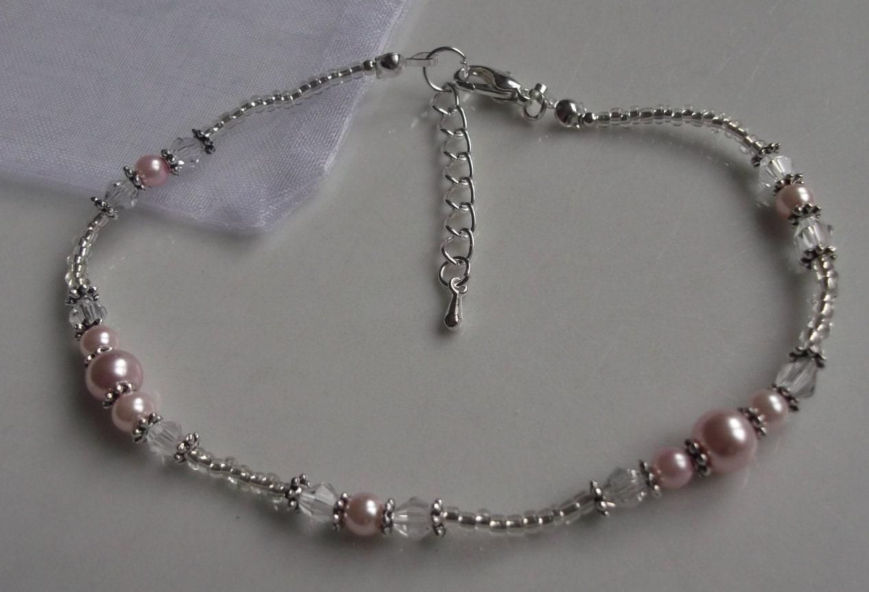 Pink pearl anklet ankle bracelet stretch anklet beaded anklet bridal anklet silver anklet bridal jewellery beach anklet prom anklet