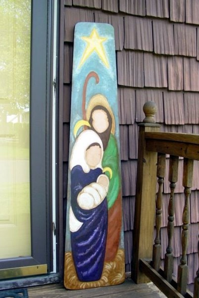 Hand Painted Vintage Ironing Board Holy Family By
