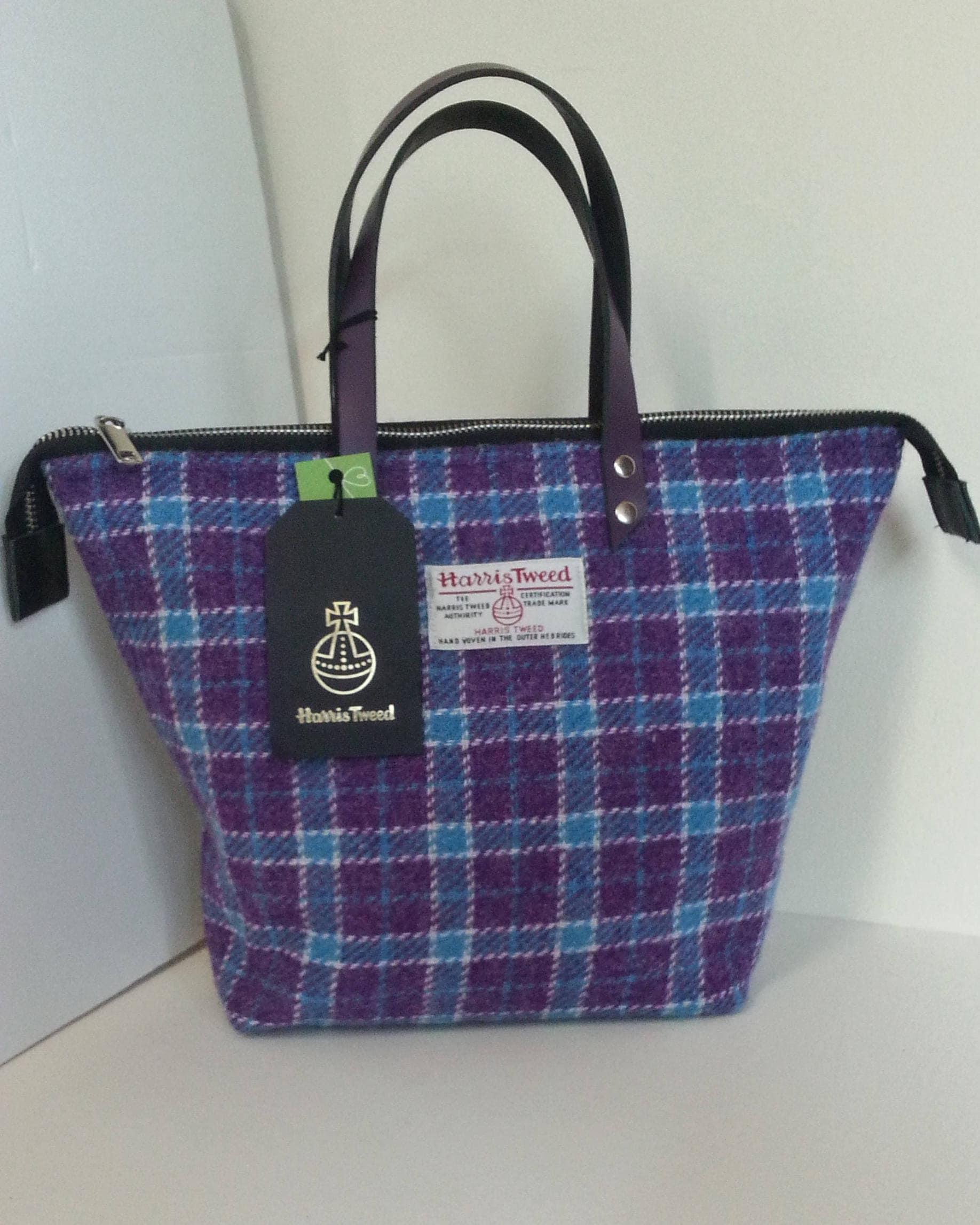 Purple and Turquoise Harris Tweed Handbag