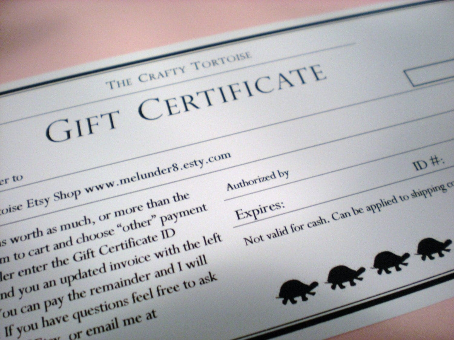 The Crafty Tortoise Gift Certificate