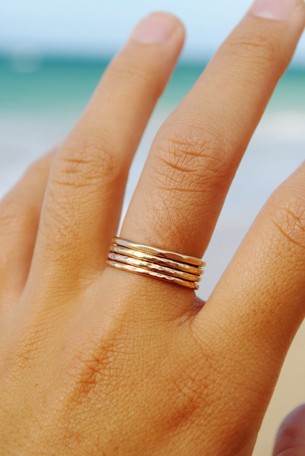 Hammered Stackable Rings- 14KT Gold Filled