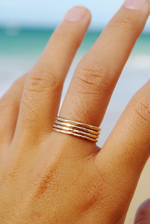 Hammered Stackable Rings- 14KT Gold Filled