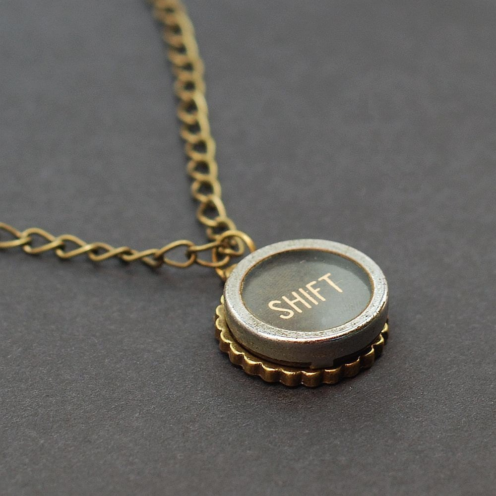 typewriter key necklace steunk jewelry by tanith on etsy