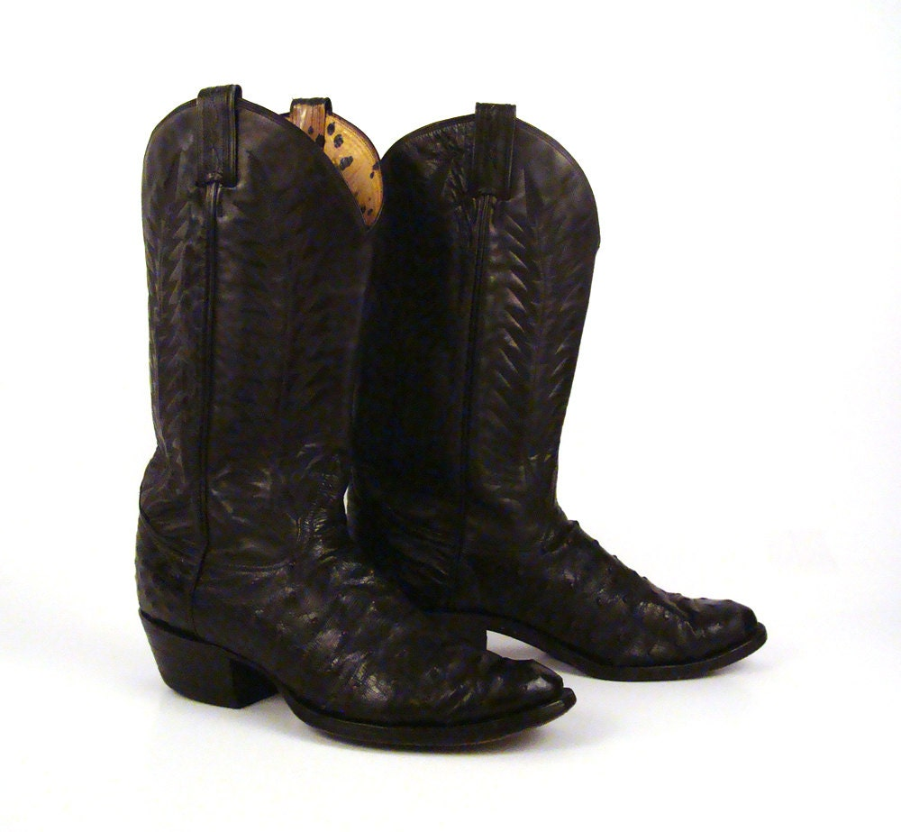 ostrich cowboy boots black leather vintage by