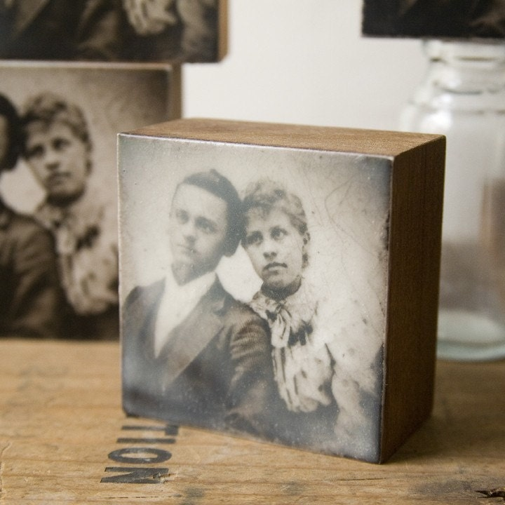 photo encaustic- you and me, 2.75 inches