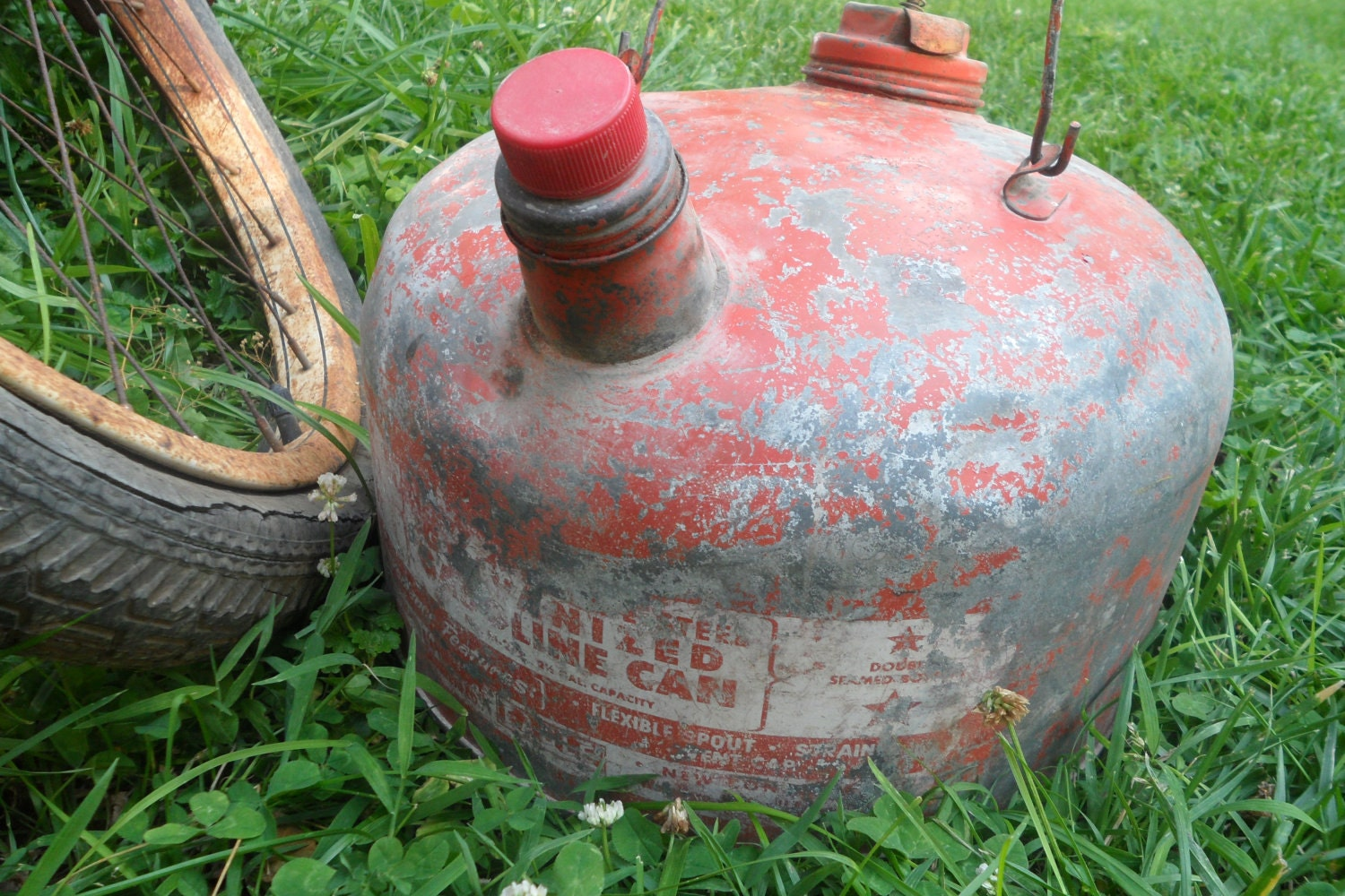 Vintage Galvanized Metal Gas Can