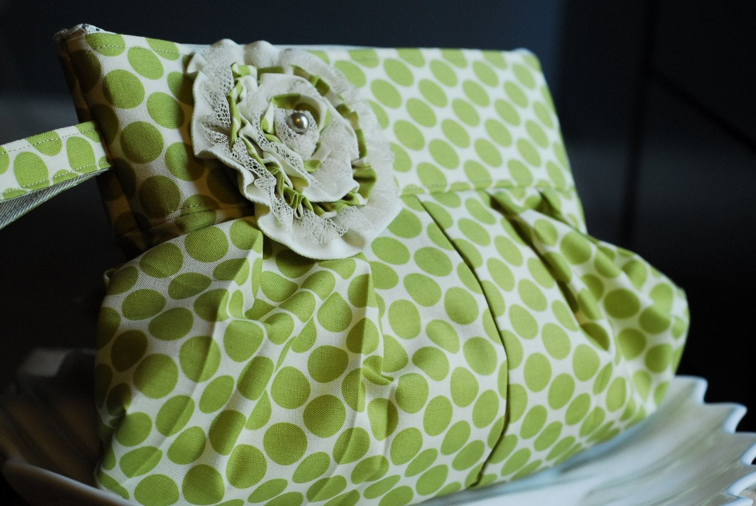 The Emery Lin. Day to Night Clutch and Wristlet. Amy Butler - Full Moon polka dot in Lime