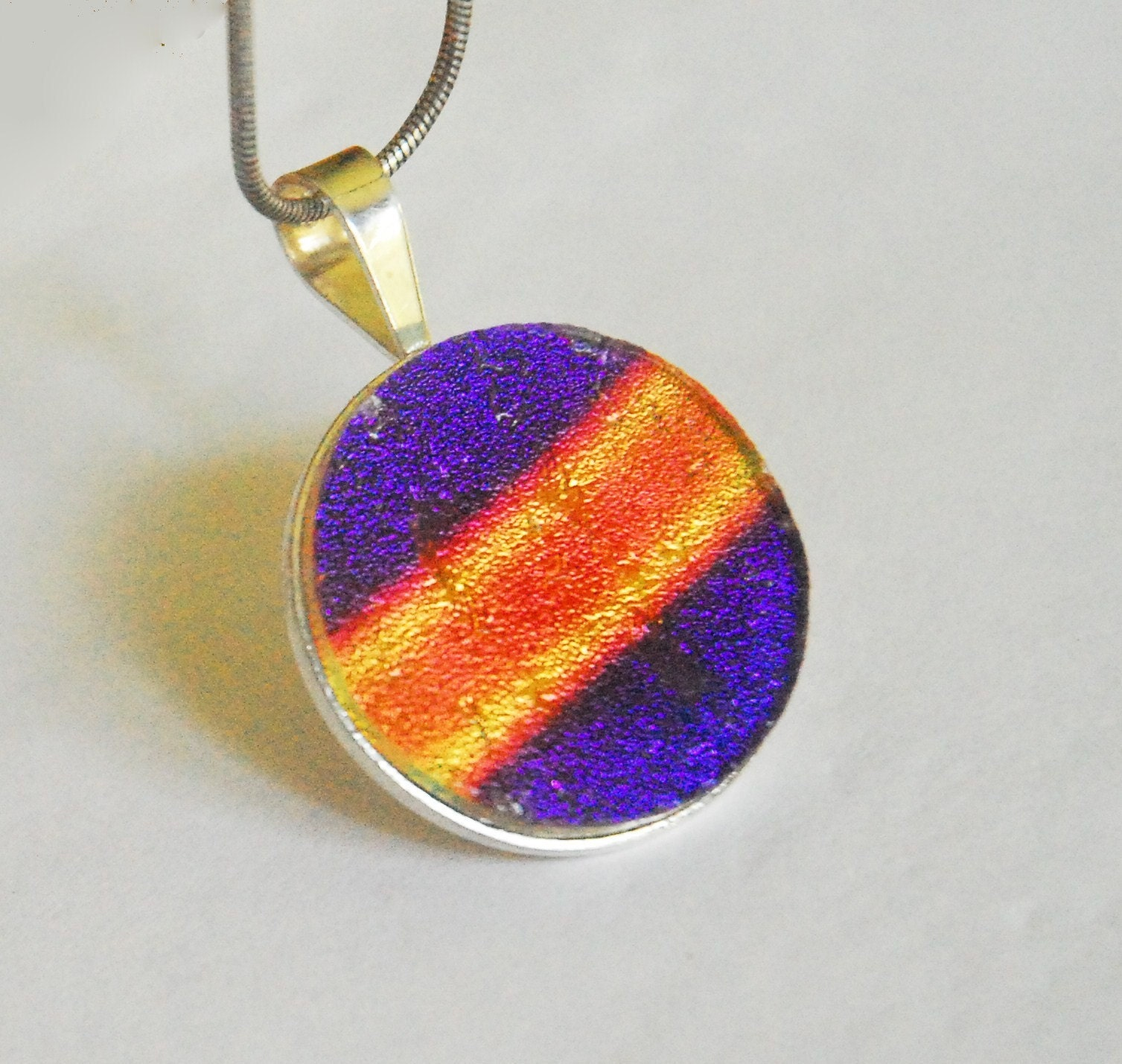 Etsy :: glasshousejewelry :: Purple Fire Fused Dichroic Glass Sterling Silver Pendant