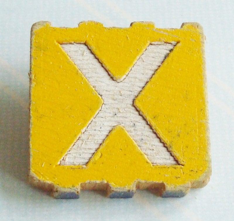 Shabby Chic Vintage Alphabet Block Pin - X