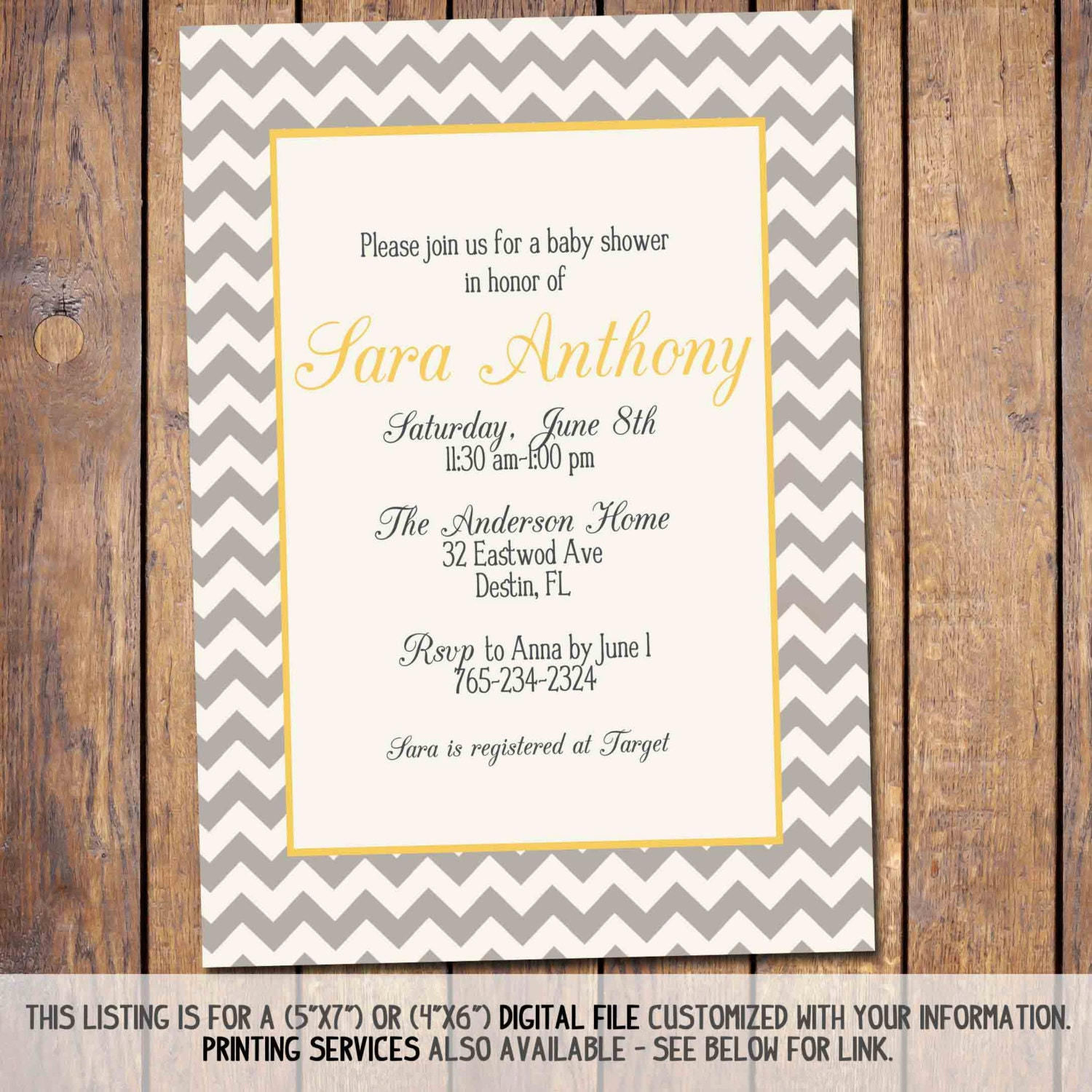 baby shower invitation gender neutral yellow and grey baby shower