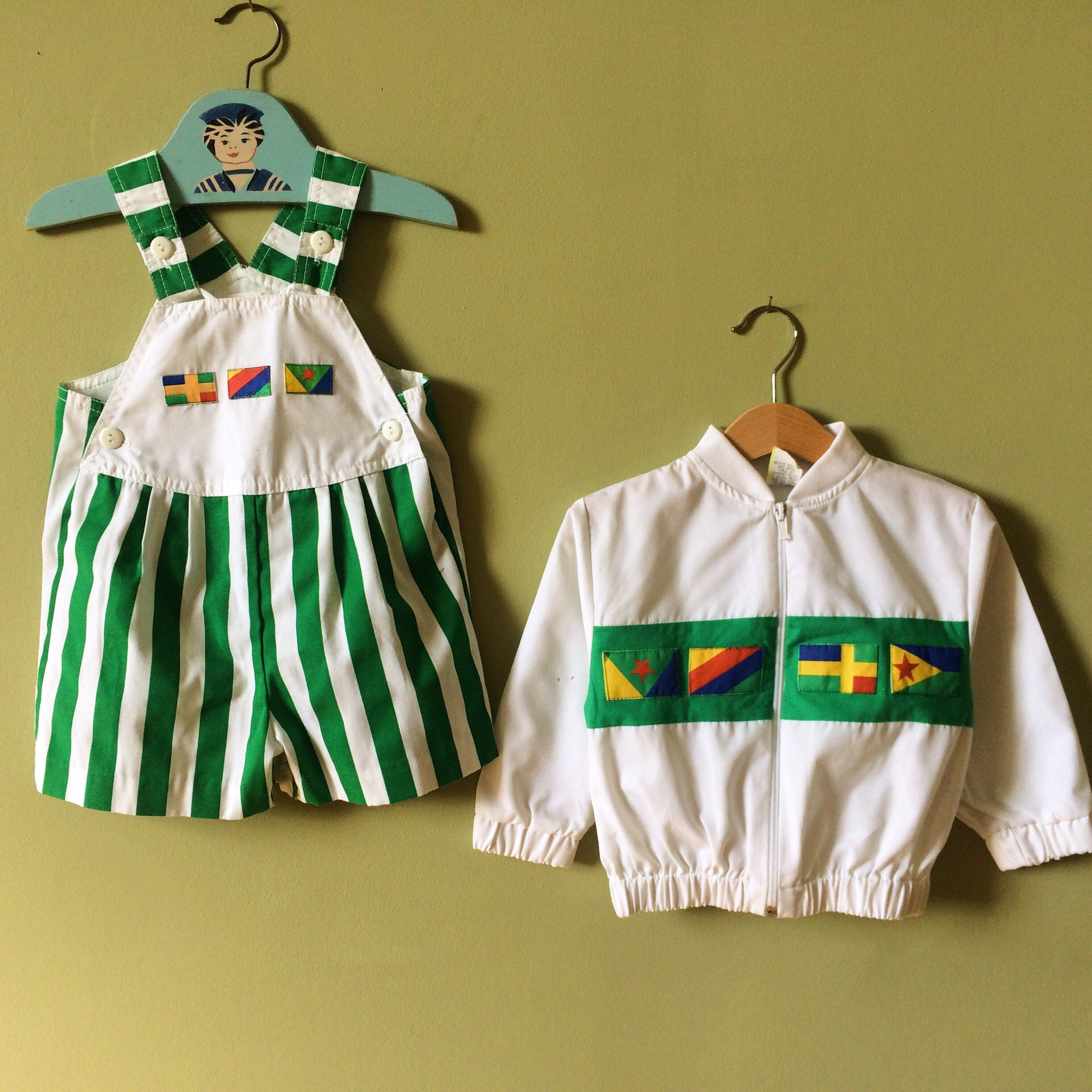 Vintage baby dungarees shorts  baby overalls matching jacket  tracksuit top. Green. Flags. Toddler boy girl. 1980s.  Age 2  24 months