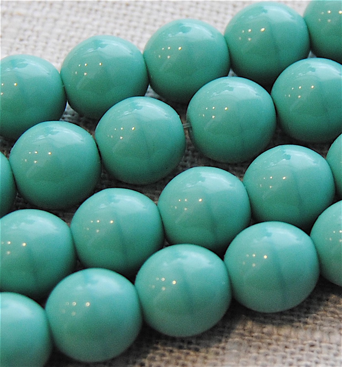 Czech Glass Vintage Turquoise Large 9mm by AugustBambooBeads