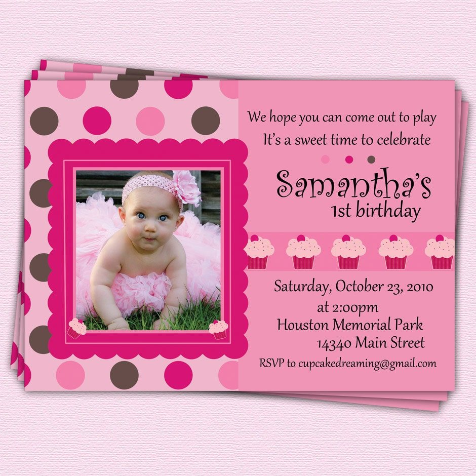 First Birthday Invitations Cupcake Girl Polka Dot By