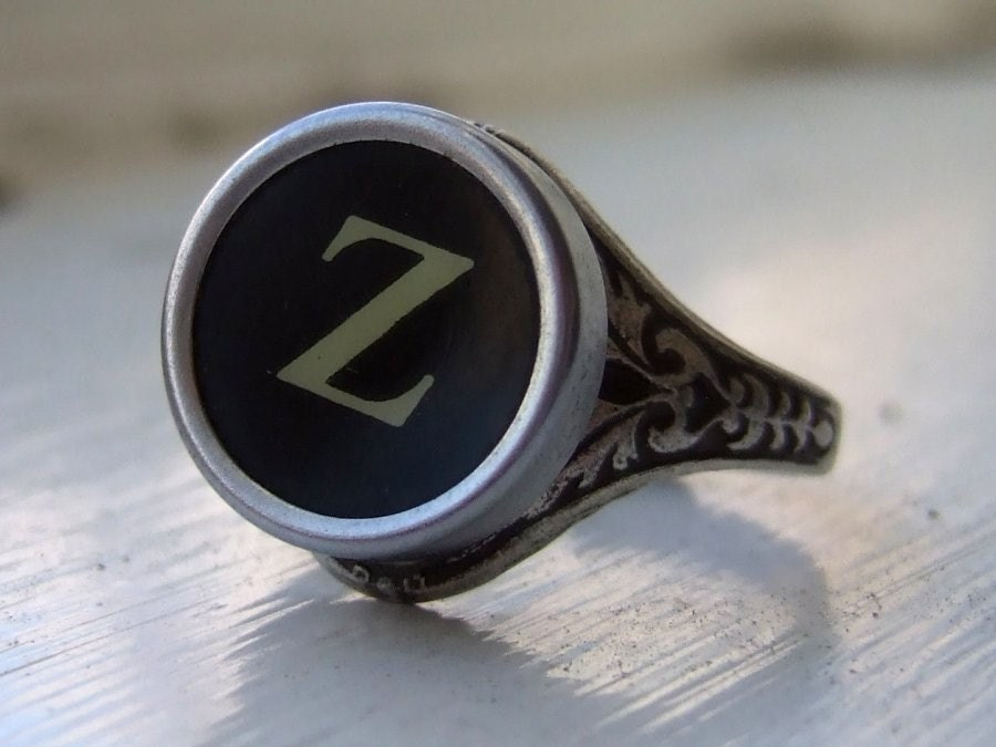Initial Letter Z Antique Typewriter Oak Leaf Ring - Black or White Keys - Fully Adjustable - Jewelry Box