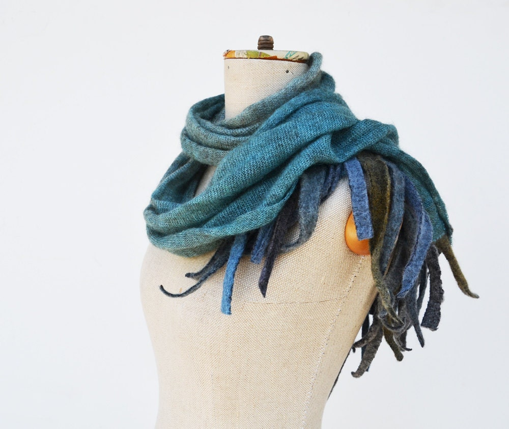 angel wings fringe turquoise long scarf Angora wool felt, hand dayed, ombre teal blue grey pure soft wool, subtle openwork unique 52 - ZOJKAshop