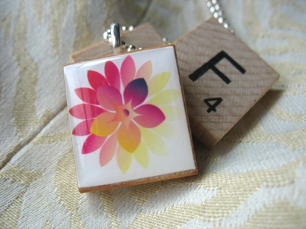 Scrabble Tile Pendant - Fushia and Yellow Flower