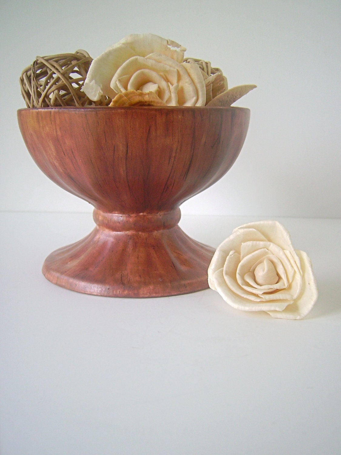 vintage pedestal vase bowl by holland mold faux bois by. Black Bedroom Furniture Sets. Home Design Ideas