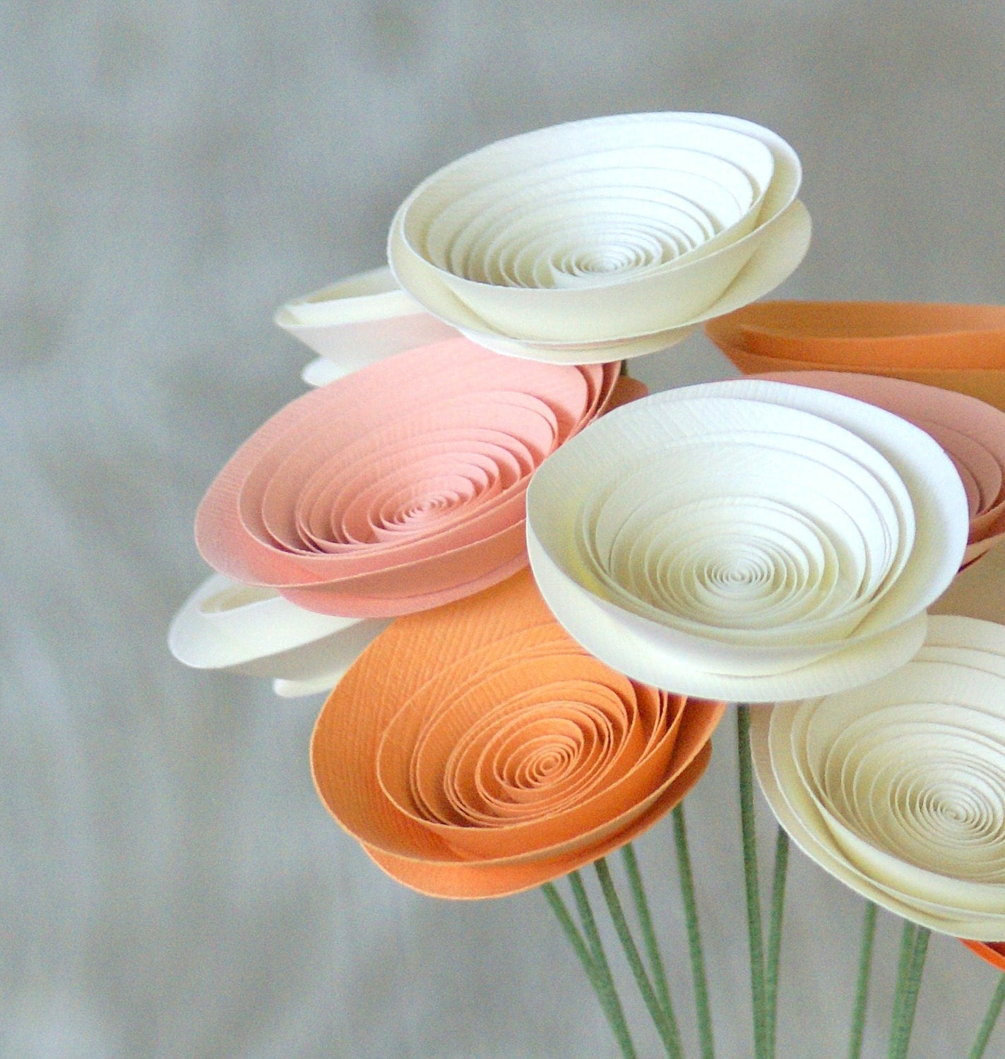 12 Peaches and Cream Paper Flowers, Modern Spring Bouquet with 12 Medium Paper Flowers, Peach Centerpiece, Peach Bouquet - FlowerThyme