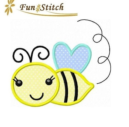Bumble bee applique machine embroidery design by funstitch