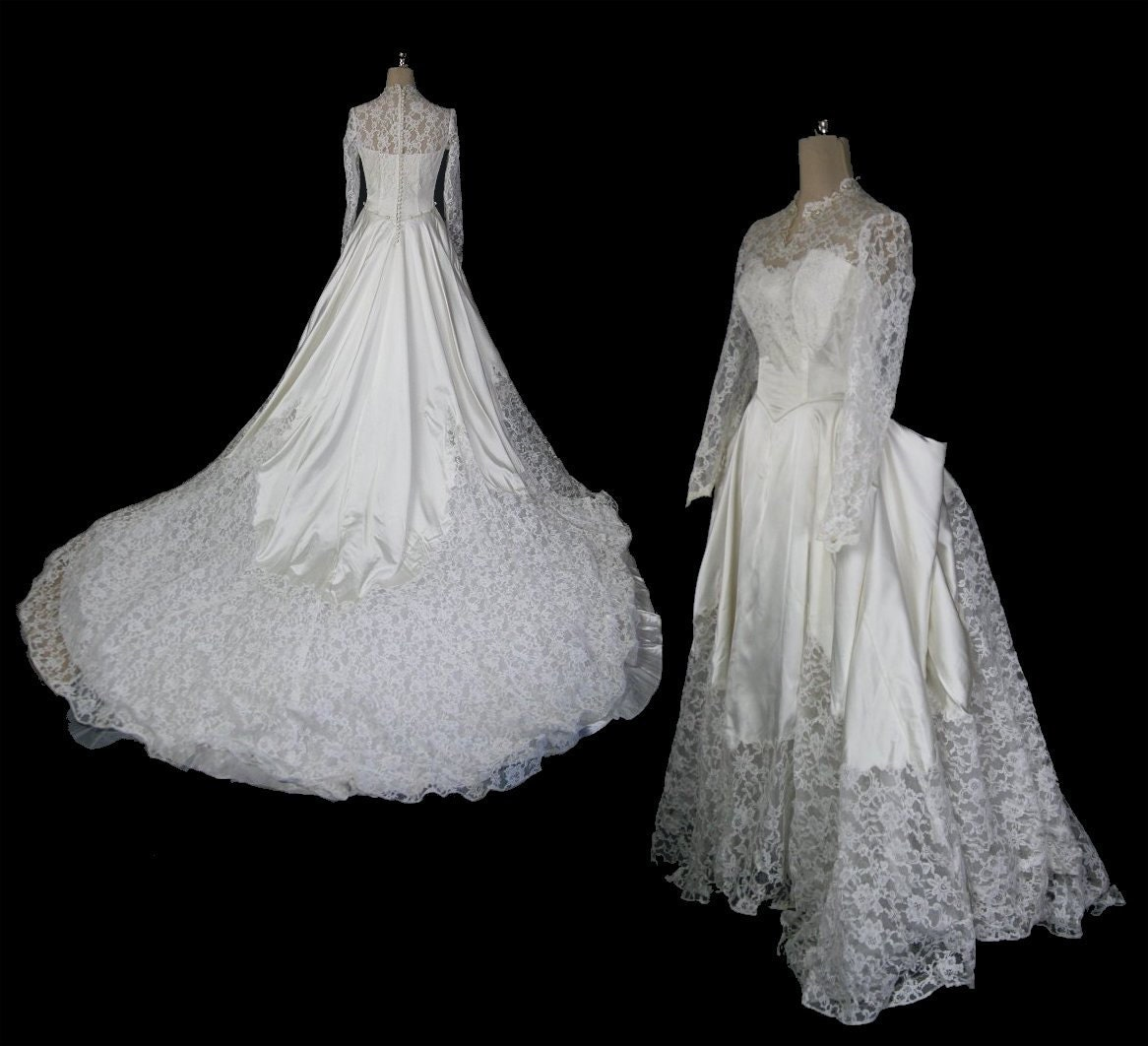 Vintage 1950s Princess Kate Wedding Dress, Long Sleeves & Illusion Neckline, XS / S