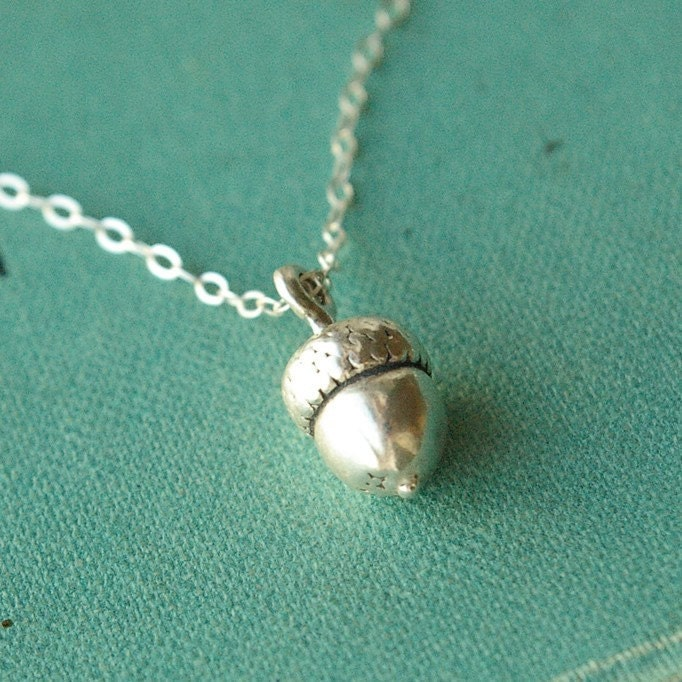 Fallen Acorn. Sterling Silver Charm Necklace -great gifts