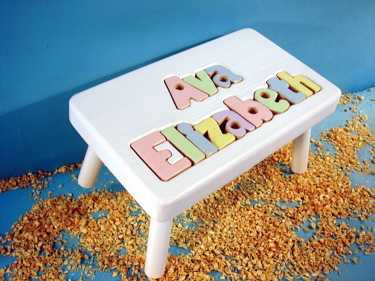9-12 letters White Finish Double Name Stool