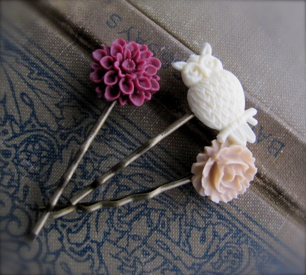 Owl Bobby Pins Set, Raspberry, Vanilla, and Cream