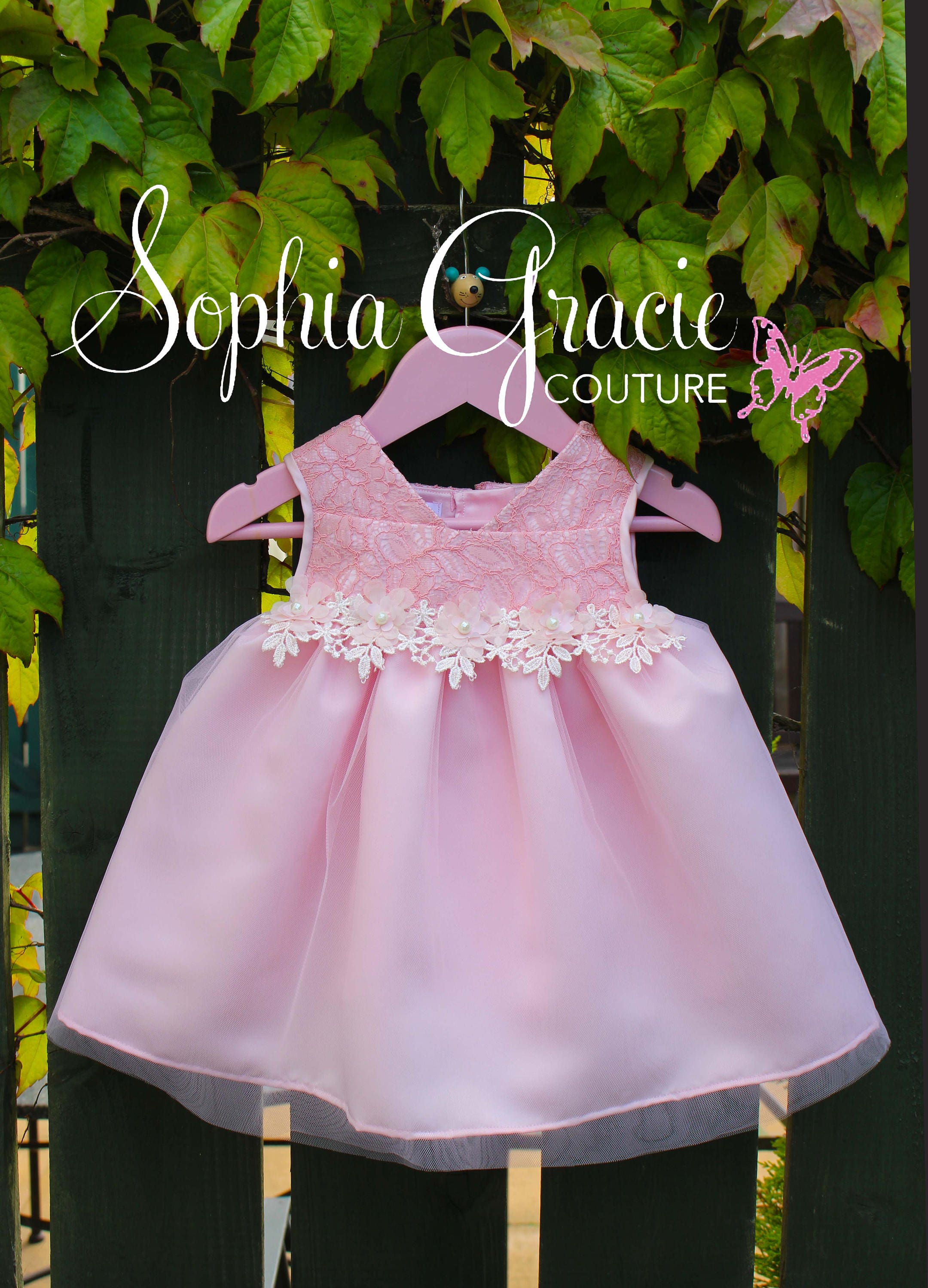 Baby Girl Flower Girl Dress Pink Lace and Tulle Flower Girl Dress Special Occasion Baby Dress Satin Princess Dress Fairy Dress