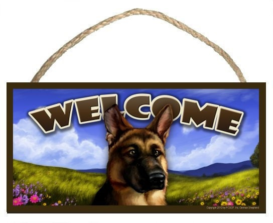 "German Shepherd Spring Season 10"" x 5"" Welcome Sign"