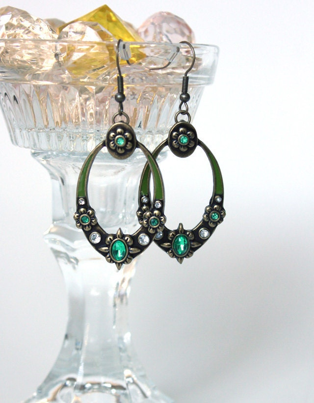 Green Enamel and Gemstone Oval Earrings