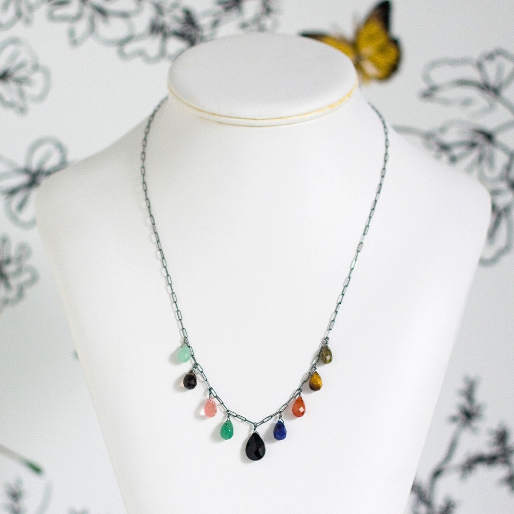 lyla necklace      .      antiqued sterling silver . multi-colored stones
