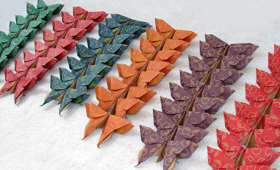 48 Large Floral Origami Butterflies