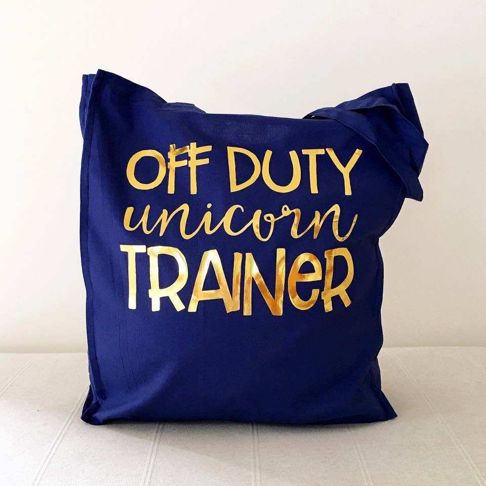 Unicorn Trainer Gold Foil Tote Bag Quirky tote Shopping Bag Eco Bag Funny Tote