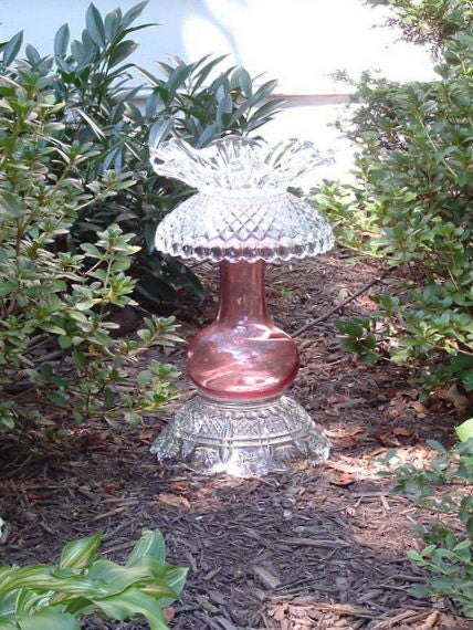 "Garden art.  Garden totem.  Candle holder.  ""The Sharon"" is made with repurposed vintage glass."