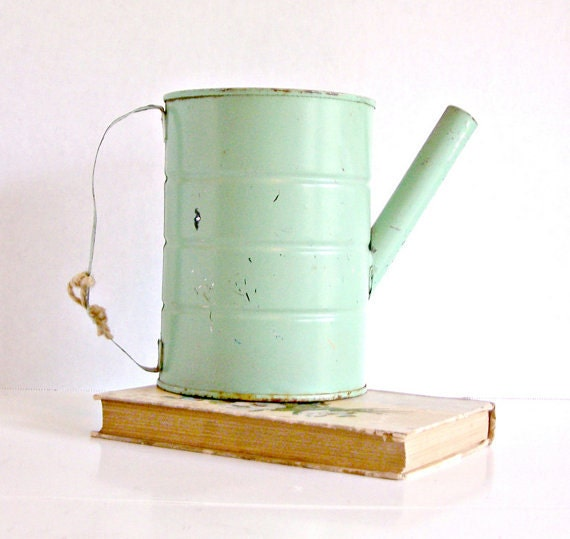 Vintage Upcycled Seafoam Green Can Flower Pot - AandNmercantile
