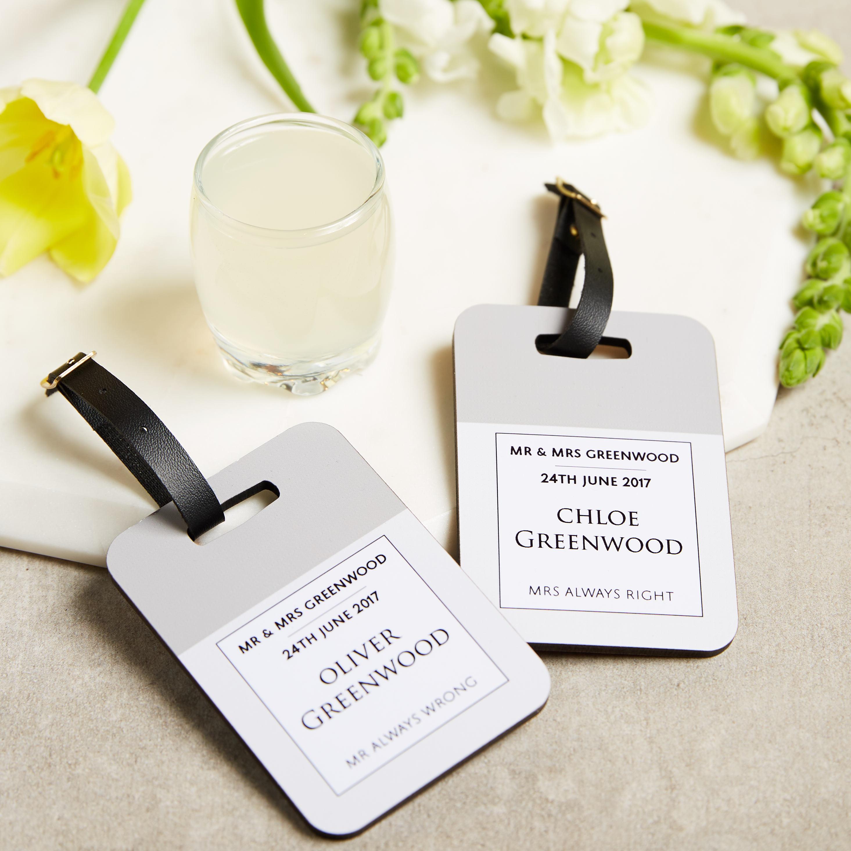 Wedding luggage tag  Luggage tag  Identification tag  Honeymoon gift  Wedding gift  Personalised wedding gift  Bag tag  Mr  Mrs gift