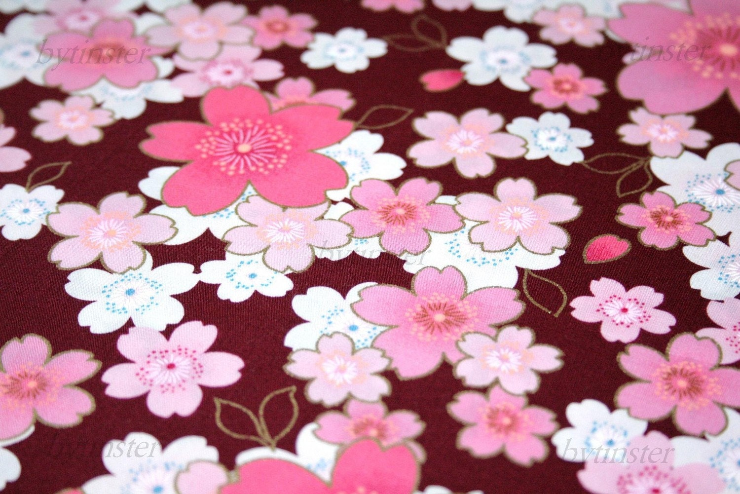 Big sakura flowers on burgundy one yard