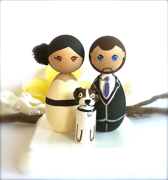 Kokeshi Doll Wedding Cake Toppers Custom and 1 Pet Wood Peg Japanese Style