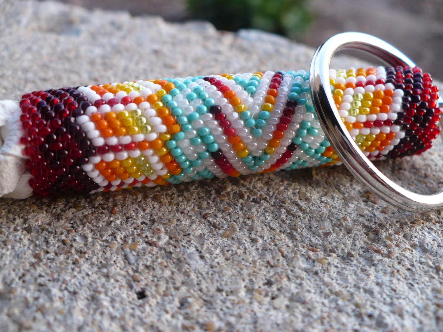 Peyote stitch beaded keychain native american by for Native american handmade crafts