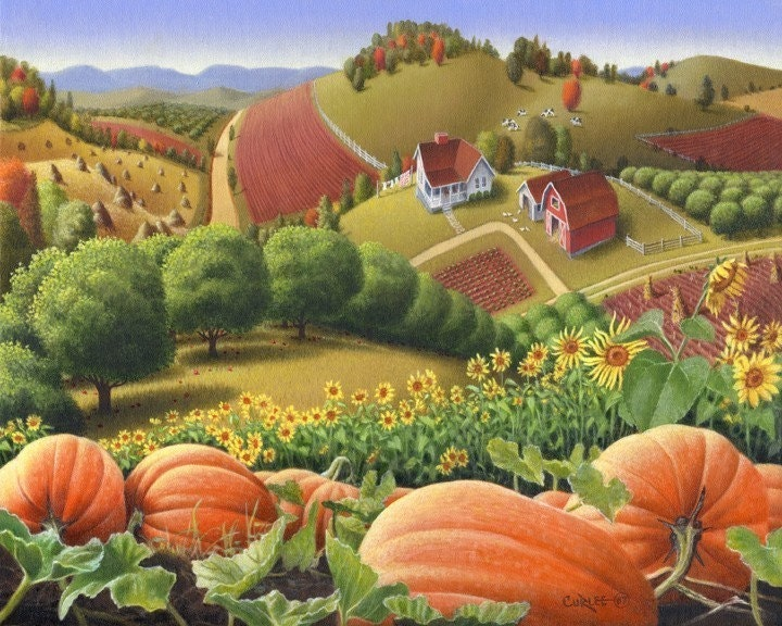 WALT CURLEE-8x10 Appalachian Mountain Farm Pumpkin Patch Landscape Print Folk Art