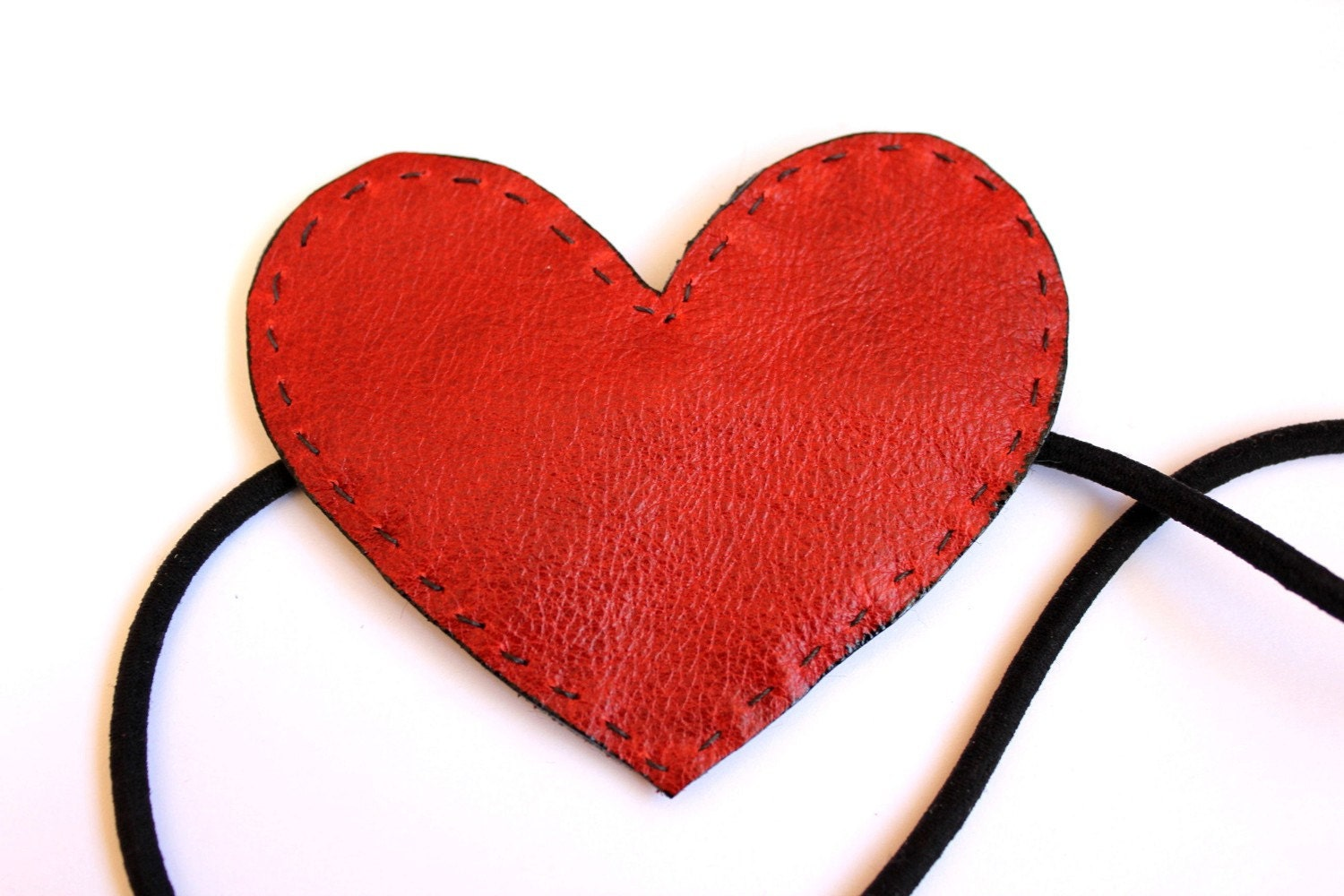 red leather heart valentine headband