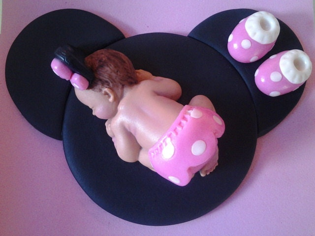 Minnie Mouse Cake Topper Images : Fondant baby pink minnie mouse cake topper by ...