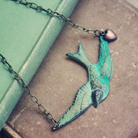Patina Bird and Heart Necklace