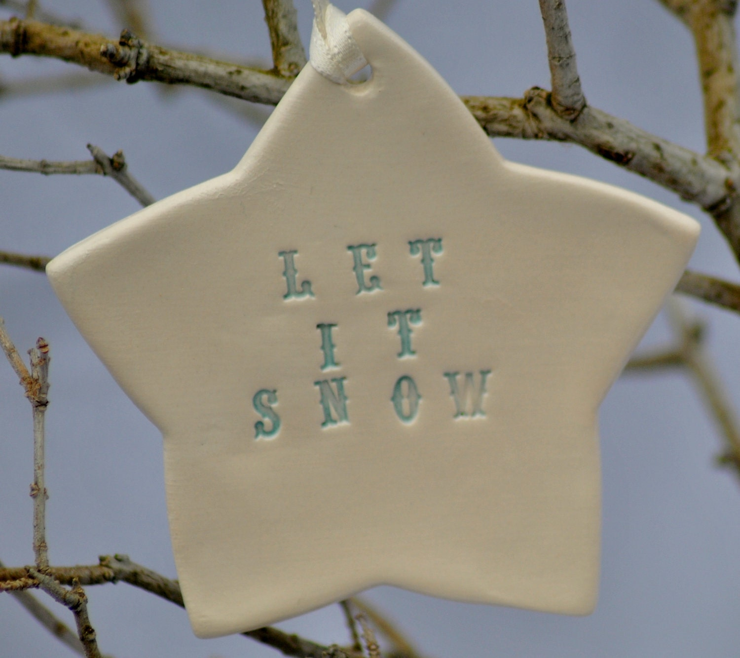 Ceramic Christmas Star Ornament - Let it Snow in Icy Turquoise Blue