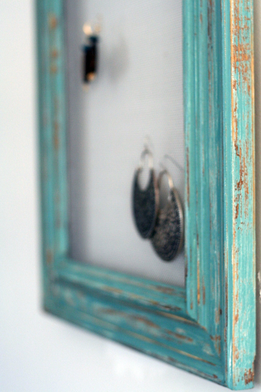 Teal Earring Frame Distressed