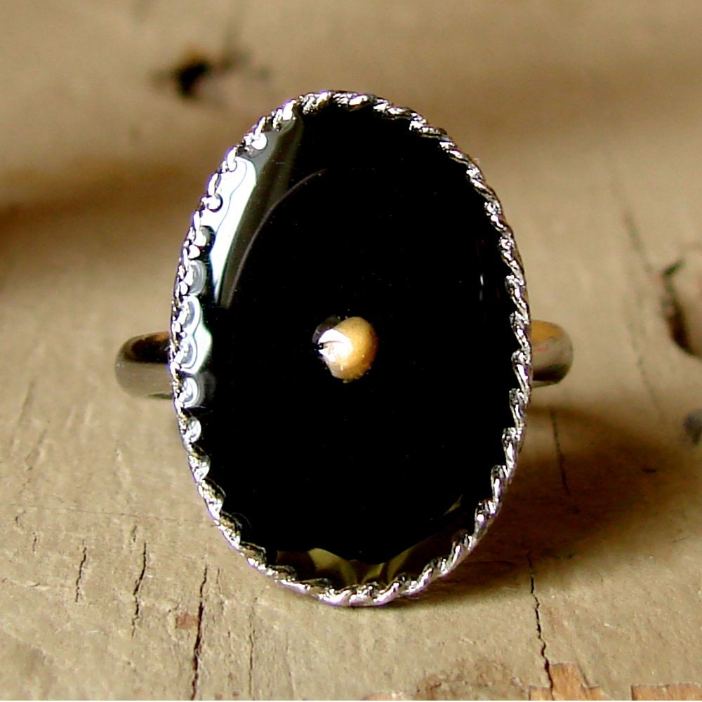 The Mustard Seed Ring - Midnight Black on Antique Silver - dirtroadsouth