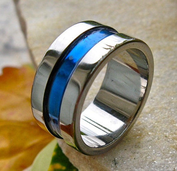 Blue Titanium Wedding Band Wide Blue Ring by TitaniumRingsStudio