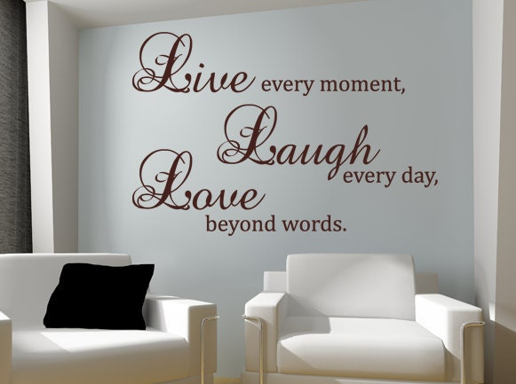 Live laugh love wall decal vinyl sticker quote art by for Living room decor quotes