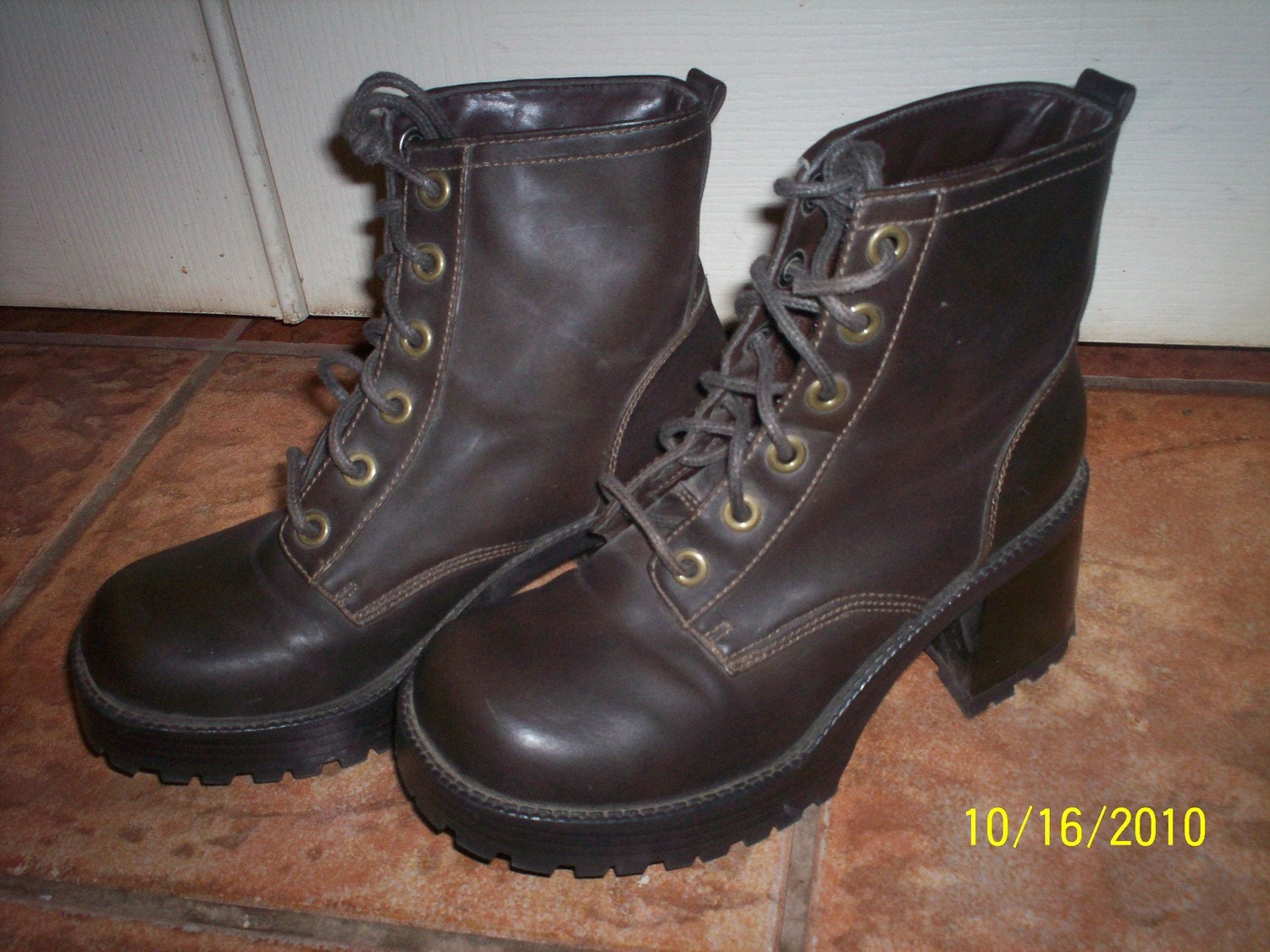 womens brown combat boots with heels size 6 5 by